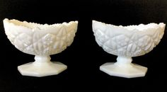 Vintage Pair Of Milk Glass Deep Cut Ornate Candlestick Holders Marked Klein
