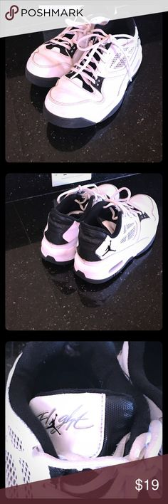 """Boys tennis shoes Boys air Jordan """"flight"""" shoes ..gently used and 90% of wear was in basketball gym. Tread is still good..these can be worn as basketball shoes or just as regular tennis shoes Jordan Shoes Sneakers"""