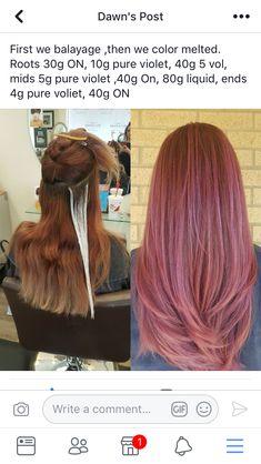 Rose Gold Hair, Pink Hair, Hairdos, Cool Hairstyles, Aveda Hair Color, Hair Color Formulas, Bright Red Hair, Hair Color Techniques, Hair Coloring