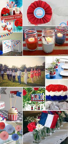 Se marier un 14 juillet ne veut pas juste dire un tir d'artifice gratuit, cela donne aussi l'occasion de décliner un thème aux couleurs flamboyantes – bleu, blanc, rouge. Utilisez des fanions, éventails ou pompons pour ajouter des touches de couleurs lors de votre cérémonie et réception. Si vous êtes aventureuses, vous serez peut-être inspirées par les cupcakes …