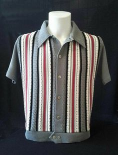 Knitted Shirt by Dig this. 60s Men's Fashion, 1950s Fashion Menswear, Suit Fashion, Vintage Fashion, Mens Vintage Shirts, Vintage Sweaters, Mode Vintage, Vintage Men, Vintage Style