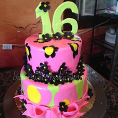 Hot Pink, Black and Green Sweet Sixteen Birthday Cake - Bittersweet Bake Shoppe - Tyngsboro, Massachusetts 01879