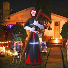 MAOYUE Halloween Inflatables Grim Reaper Inflatable Blow Up Outdoor Halloween Decorations Built-in LED Lights with Tethers, Stakes for Outdoor, Yard, Lawn, Garden Halloween Costume Shop, Outdoor Halloween, Halloween Skull, Halloween Ghosts, Halloween Decorations, Jar Decoration Ideas, Halloween Yard Inflatables, Giant Inflatable, Grim Reaper