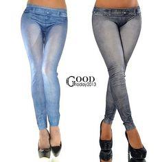 New Sexy Women Jean Skinny Jeggings Stretchy Denim Look Leggings Pencil Pants