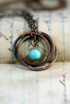 Copper Ring Necklace with Vintage Baby Blue by monkeysalwayslook, $38.00