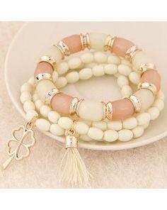 Golden Four-leaf Clover and Tassel Pendants Multi-layer Beads Fashion Bracelet - White