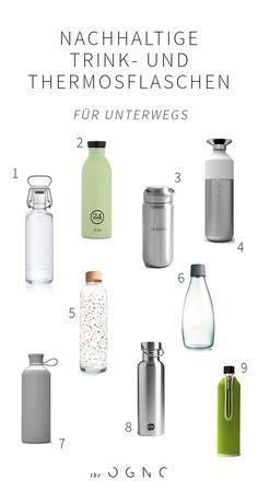 20 sustainable drinking bottles and thermoses on the go - Nachhaltigkeit - DIY Outdoor Hammock, Sustainable Architecture, Sustainable Living, Sustainable Products, Plastic Bottles, Zero Waste, Drink Bottles, Flask, Sustainability