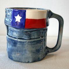Texas Flag Blue Jean Mug. $20,  CrimsonCactus (Selma TX) @ Etsy.