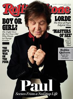 British musician Sir Paul McCartney wearing Burberry Prorsum on the cover of Rolling Stone magazine