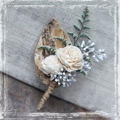 Birch Forest Boutonniere  Rustic Elegant by sparkleandposy on Etsy - #danishandmadewedding