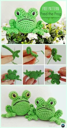 Crochet Toys Patterns Crochet Amigurumi Frog Free Pattern - Crochet Amigurumi Little World Animal Toys Free Pattern 01 - Crochet Frog, Crochet Gratis, Crochet Amigurumi Free Patterns, Crochet Animal Patterns, Cute Crochet, Crochet Dolls, Crochet Animals, Diy Crochet Toys, Crochet Mignon