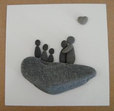 From my love for beachcombing, I create collages of little families from the pebbles, shell bits and sea glass I find on the Kennebunk Beach in Maine. No two are alike. Families come in three sizes: f