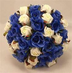 pretty dyed flowers Blue and White formal rush