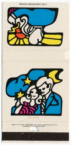 """Matchbook cover from The Ohio Match Company's 1969 """"Designer Series."""" These graphics were obviously inspired by Pop Artist Peter Max."""