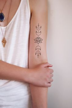 Moon phase lotus temporary tattoo / bohemian temporary tattoo / boho tattoo / lotus tattoo / moon phase tattoo / boho gift idea - I love lotus tattoos and I love moon phase tattoos. So I thought: why not combine the two? Bohemian Tattoo, Boho Tattoos, Trendy Tattoos, New Tattoos, Body Art Tattoos, Small Tattoos, Sleeve Tattoos, Wing Tattoos, Thin Line Tattoos