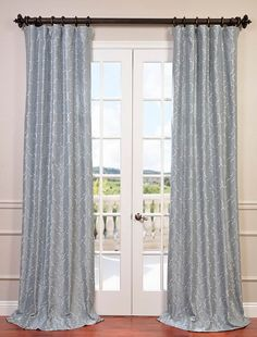 ef45ae72ec05 Algeirs Silver Embroidered Faux Silk Curtain