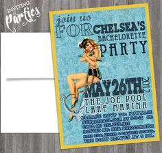 Nautical Vintage Pin Up Girl Invitation- Bachelorette, Hens night, Lingerie Shower Birthday party diy print file Printed Optional. $15.99, via Etsy.