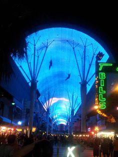 Flightline over crowd on Freemont Street, Las Vegas