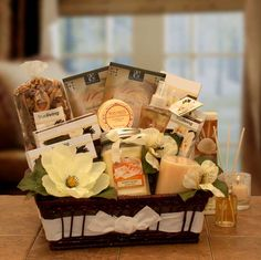 Vanilla Essence Candle Gift Basket ~ Let the classic and traditional warm scent of Vanilla soothe her senses! This Gift Basket is filled to overflowing with the sweet scent of Vanilla! Perfect for any occasion - Mother's Day, birthday, or just because! Mother's Day Gift Baskets, Easter Gift Baskets, Gift Hampers, Pillar Candles, Candle Jars, Candle Gifts, Spa Basket, Basket Ideas, Hamper Ideas