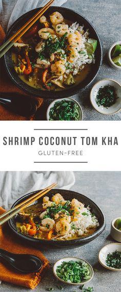 Gluten-Free Shrimp Coconut Tom Kha. An Asian dish. Recipe here: https://greenchef.com/recipes/shrimp-tom-kha?utm_source=pinterest&utm_medium=link&utm_campaign=social&utm_content=herb-roasted-chicken