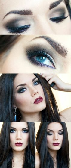 maquiller les yeux avec fard foncé et lèvres en couleur bordeaux maquillage yeux bleu pour la journée