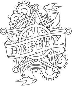 Western Steampunk - Deputy Badge design (UTH4940) from UrbanThreads.com