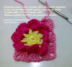 Tecendo Artes em Crochet: Passo a passo do Square Flor