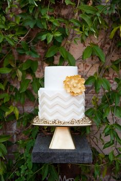 Gold chevron cake by Sugary and Chic Cake Boutique in Houston, TX