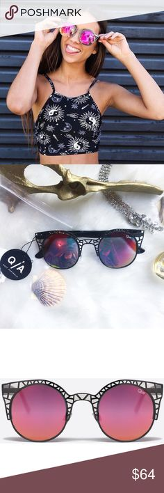 • SOPHIA Melbourne •Sunnies• NWT • \\Quay Australia// FLEUR GUN / PINK ***RARE*** Sold•out everywhere but sold here ::: It's time to bring back to the O.G. funky fun Quay design. Featuring classic round lenses set inside a playful cutout metal cat eye frame, FLEUR will keep all of your festival hopping frolics off the charts fun.  Polycarbonate Frame. Polycarbonate Lens. Stainless Steel Hinges. 100% UV protection. Width: 145mm. Height: 55mm. Nose Gap: 8mm. Quay Australia Accessories…