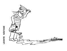 Caricatura de LEONTE NASTASE, publicata in almanahul PERPETUUM COMIC '97 editat de URZICA, revista de satira si umor din Romania