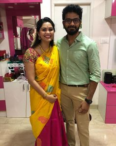 Image may contain: 3 people, people standing, beard and indoor Silk Saree Blouse Designs, Bridal Blouse Designs, Shiva Reddy, Indian Face, Wedding Silk Saree, Simple Sarees, Sari, People People, Model
