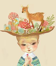 Girl with deer illustration. Art And Illustration, Illustrations Posters, Oh Deer, You Draw, Whimsical Art, Painting & Drawing, Art Photography, Character Design, Creations
