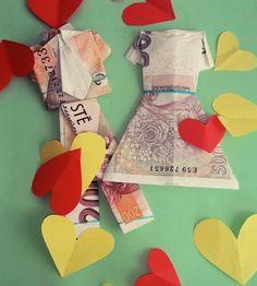 A unique wedding gift - origami  groom and bride made of banknotes! // Jedinečný svatební dárek - origami nevěsta a ženich z bankovek! :-)