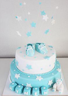Baby, geboorte of BabyShower taart met schoentjes en sterren. #taart #geboorte #baby #babyshower #schoentjes #jongen #boy #zuidholland #rotterdam