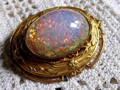 Ornate Revival Opal Ornate Brass Brooch by Scentedlingerie on Etsy,