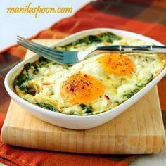 Baked Spinach and Eggs. My tip: toss fresh spinach with pesto and add a few tomatoes. top with eggs, any cheese, s&p. bake at 359 for 15 - 20 mins. yum!