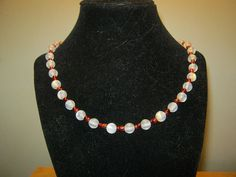 Pearlstyle Necklace with red beads 18 inches by carebear1984, $10.00