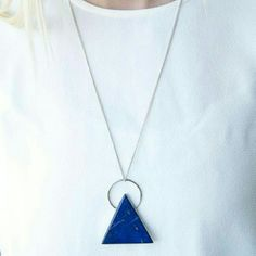 Handmade // Lapis Lazuli Pyramid Pendant Necklace From Bohem, a collective artist boutique based in Salt Lake City. Handmade authentic lapis Lazuli triangle pendant on a long silver chain. Really gorgeous color. Bohem  Jewelry Necklaces
