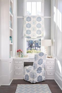 Lovely white and blue work space