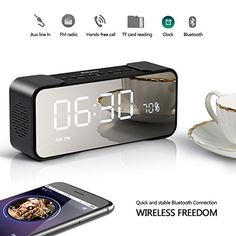 Travel Alarm Clock, Radio Alarm Clock, Digital Alarm Clock, Wireless Speakers, Bluetooth Headphones, Alarm Clock Design, Have Metal, Built In Speakers, Best Gifts For Men