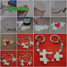 How to make Lover Puzzle Key Chain step by step DIY tutorial instructions thumb Handmade Keychains, Diy Keychain, Keychain Ideas, Puzzle Piece Crafts, Puzzle Pieces, Puzzle Art, Fun Crafts, Diy And Crafts, Crafts For Kids