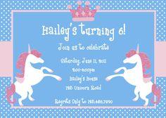 Princess Unicorn Birthday Party Invite