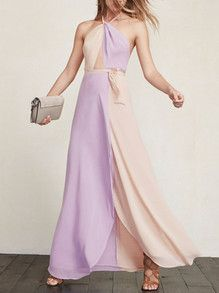Purple Apricot Halter Color Block Maxi Dress -SheIn(Sheinside)
