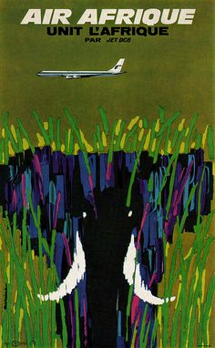 Jacques Auriac Illustration Poster for Air Afrique airline. Artist, Jacques Auriac.