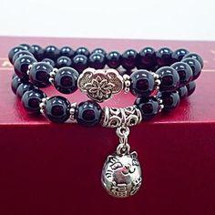 Black onyx beads & Cat pendant bracelet $14.98 and free shipping