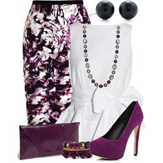 """Purple&Floral Skirt"" things to wear"