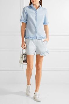 Paskal - Ruffle-trimmed Cotton-blend Shorts - Sky blue - large