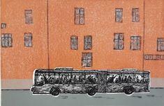 Kari Adora Hauge - Ta Oslo - 20-bussen   Galleri Briskeby Oslo, Chevrolet Logo, Kunst
