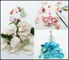 """Lim Zhi Wei's """"Flowergirls""""  Malaysian artist decorates her watercolors with real flowers. It's hypnotizing!"""