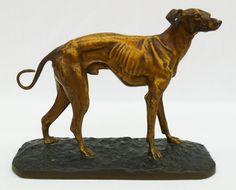 Pierre Jules (P.J.) Mene (1810-1879 France) Untitled Whippet Dog Bronze Sculpture 1884 - 8.75''x11''x4.5''